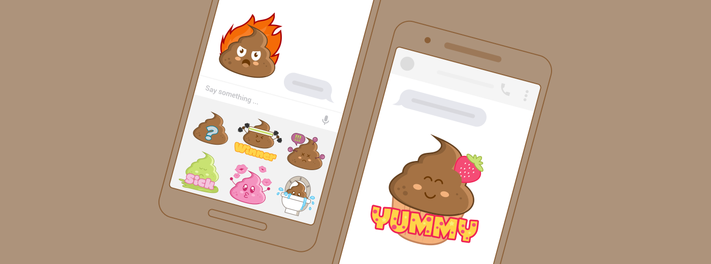 Messenger stickers poop